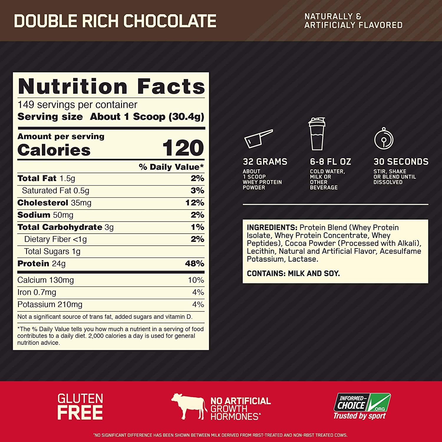 Optimum Whey Gold Standard-149Serv.-4.54KG-Chocolate facts
