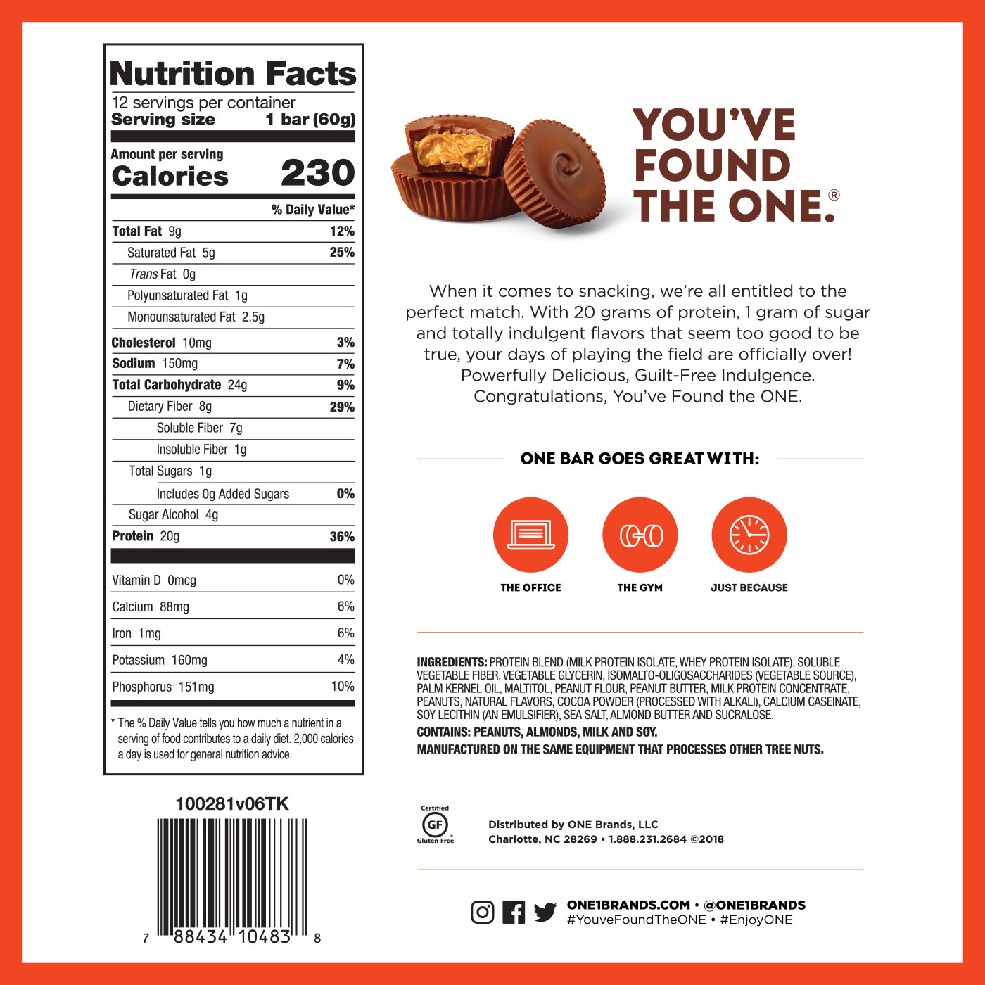 One Protein Bar-60G-Peanut Butter Cup