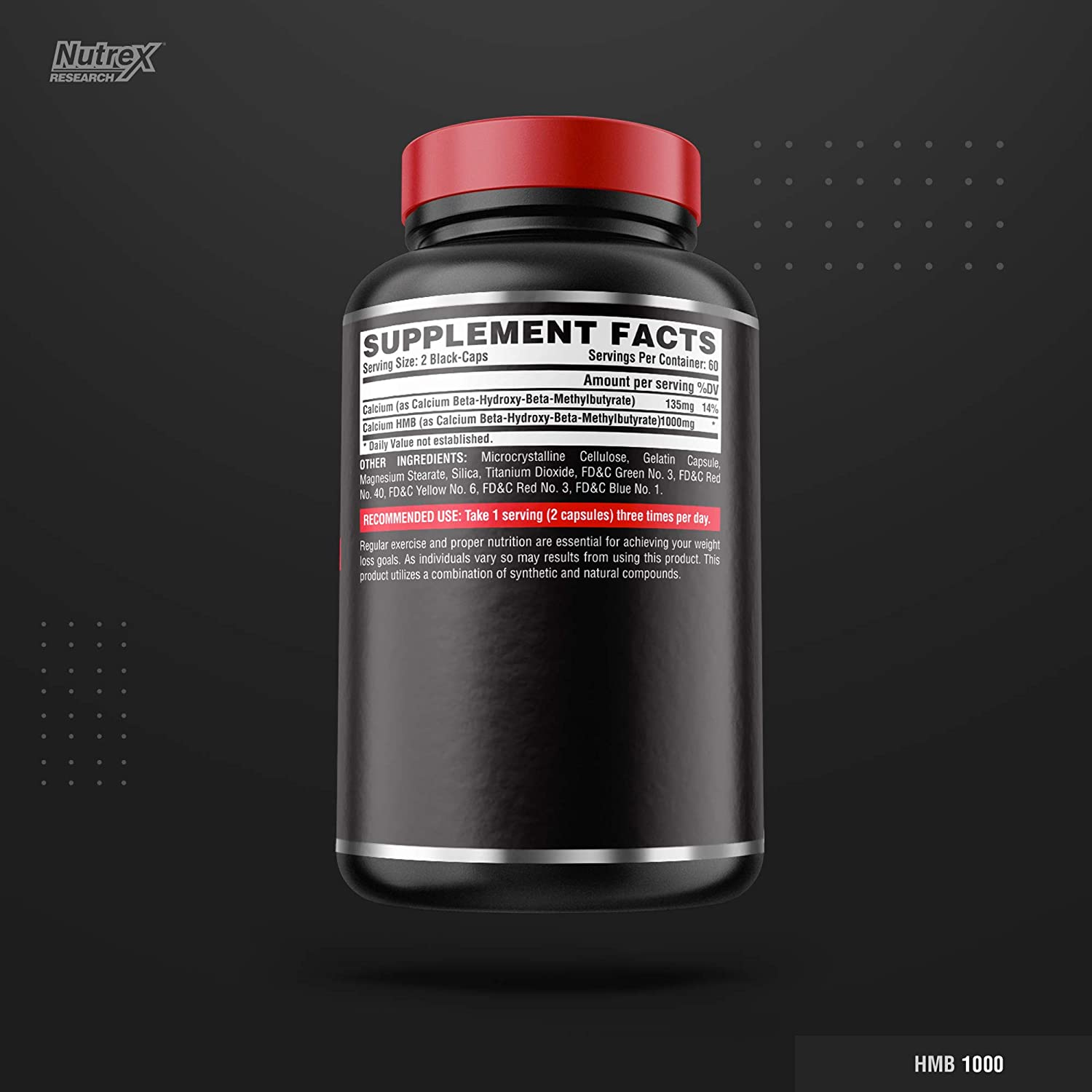 Nutrex HMB 1000 Muscle And Strenght-60Serv.-120Black Caps.