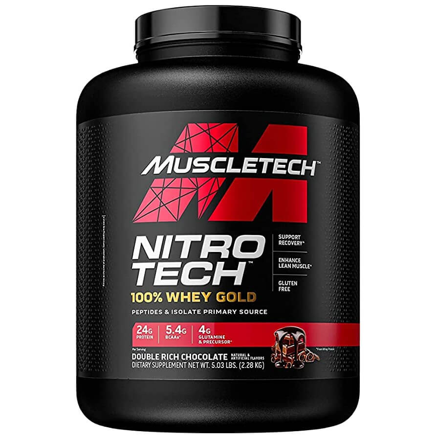 [631656710496] Muscletech Nitrotech 100% Whey Gold-76Serv.-2.51KG-Double Rich Chocolate