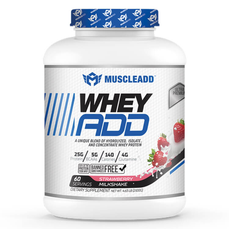 [6224009363476] Muscle Add Whey Add-60Serv.-2100G-Strawberry Milkshake